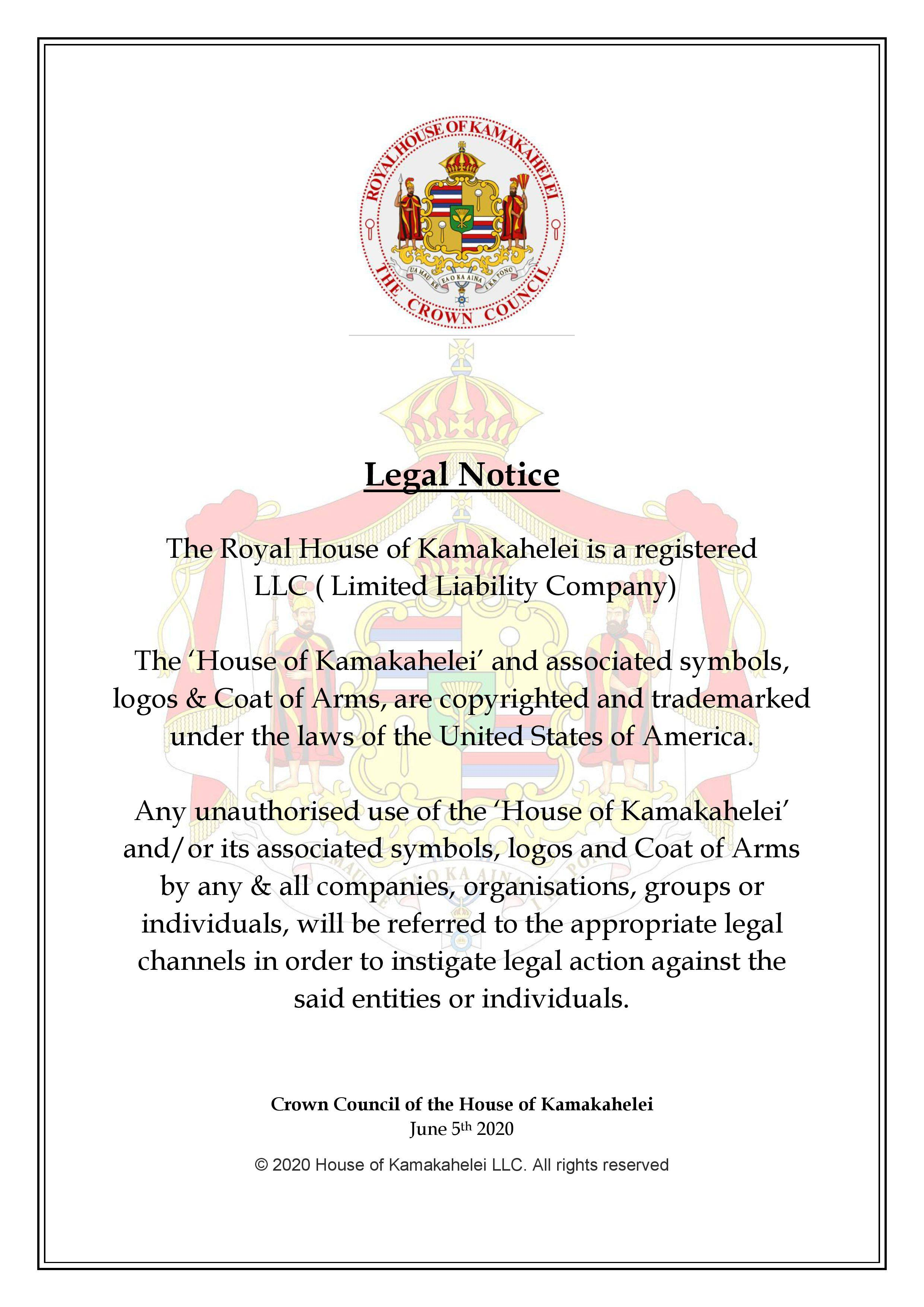Legal Notice re: Copyright & Trademark dated 6/5/2020